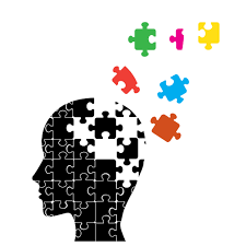 Cartoon image of person's head consisting of puzzle pieces floating away from the head