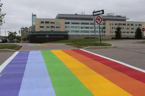 Rainbow crosswalk at Durham Region Headquarters