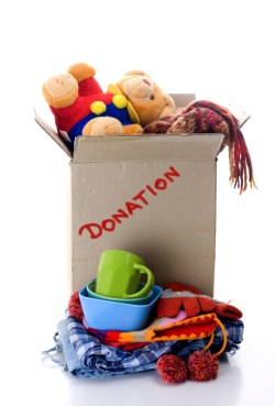 Box of clothing and household items for donation
