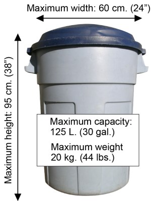 Garbage can showing acceptable dimentions