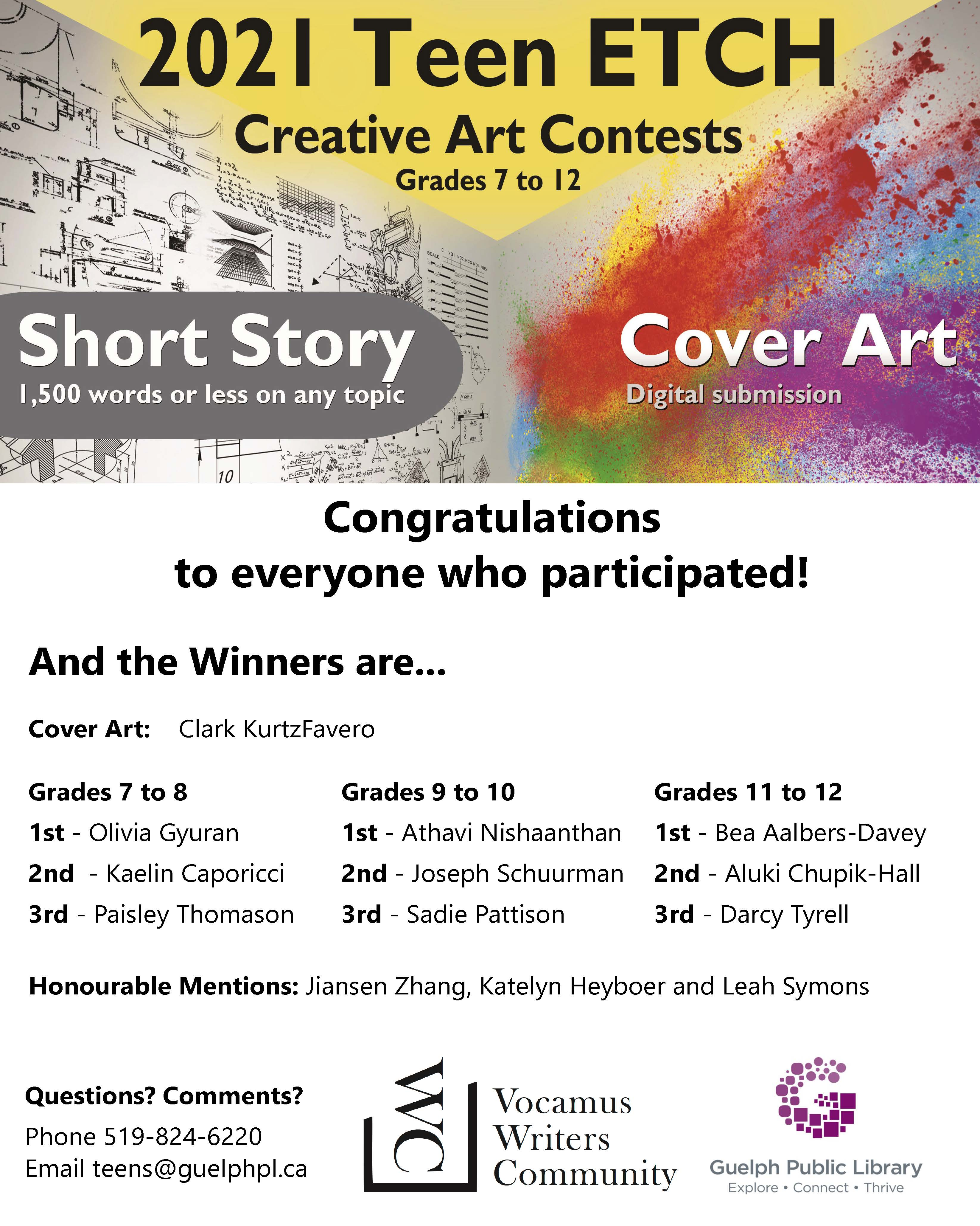 2021 Teen ETCH Creative Arts Contest Winners