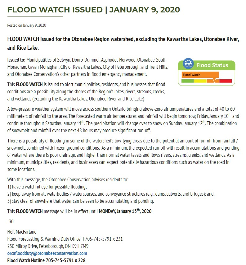 Flood Watch Jan 13 2020