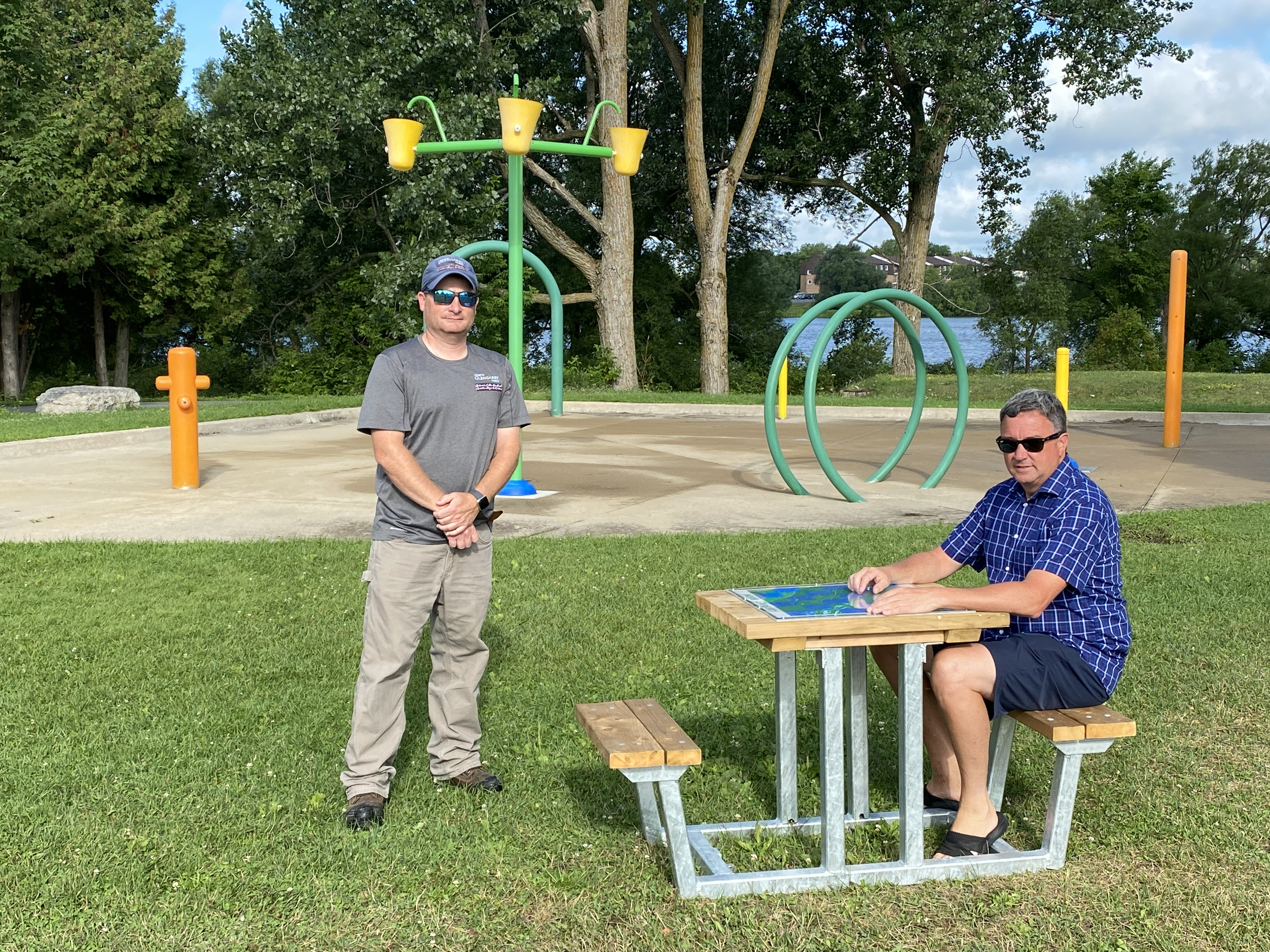 A new mini picnic table at Island Park features an integrated chess board
