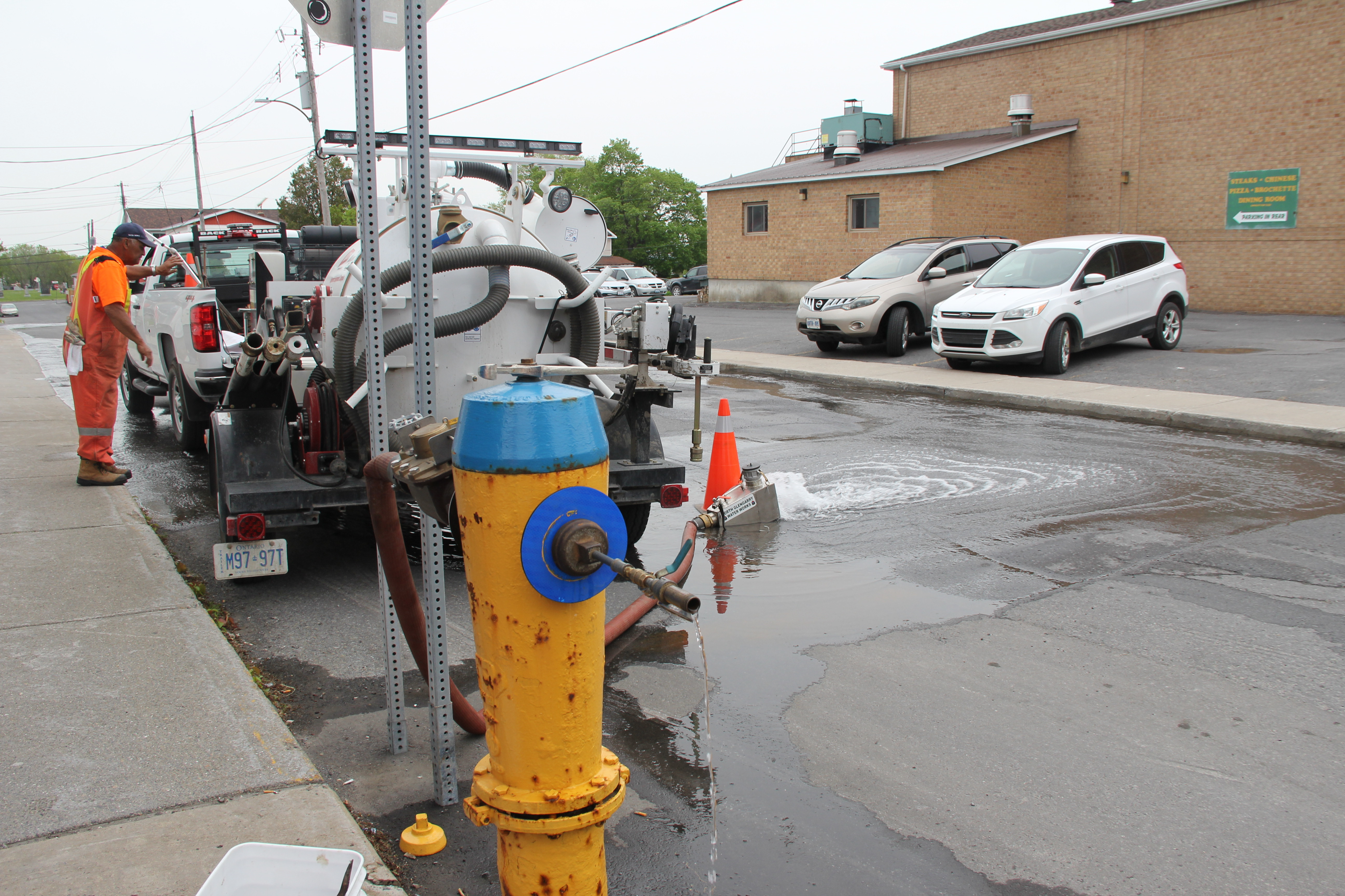 fire hydrant during flushing