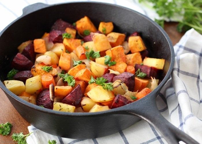 Root vegetables frying pan