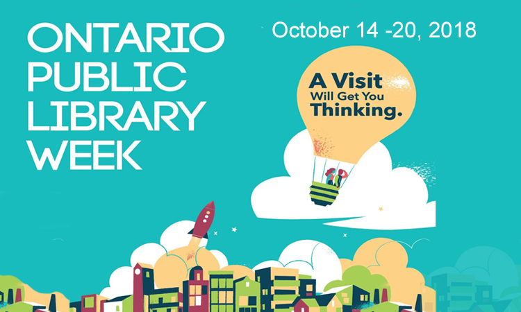 ontario pulblic library week lightbulb balloon flying over city