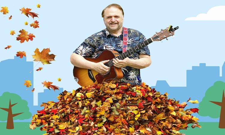 russ in pile of leaves