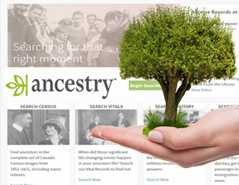 ancestry webpage hand holding tree