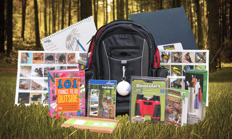 Nature backpack with contents displayed
