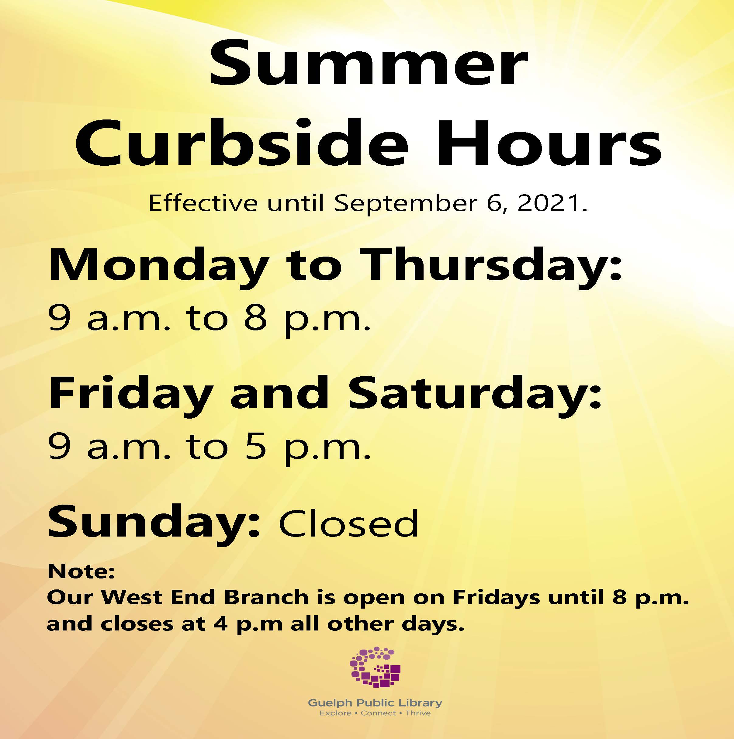 Summer Curbside Service Hours