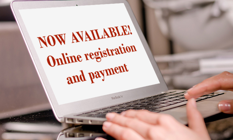 Computer screen with the words now available online registration and payment