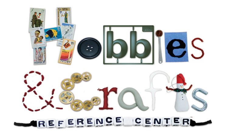 Hobbies and crafts reference center spelled out with hobby images