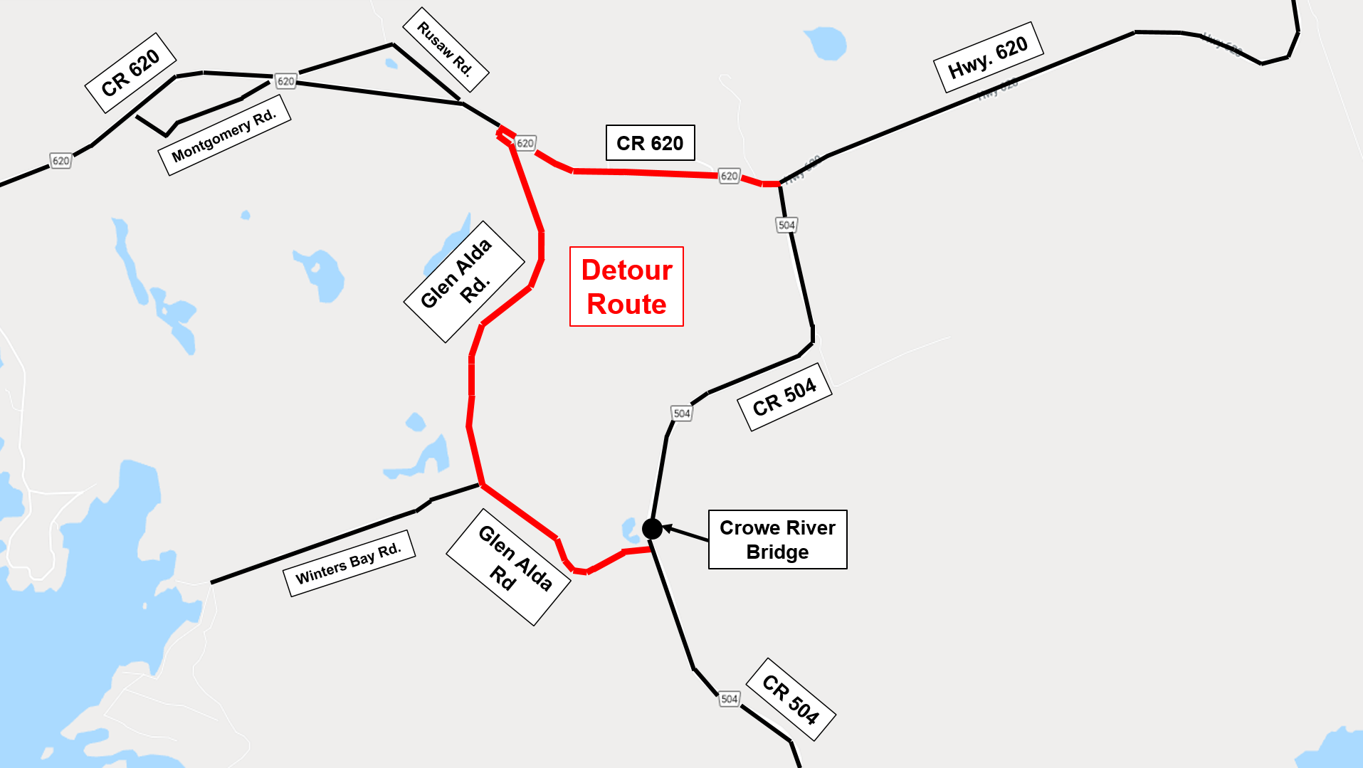 Crowe River Bridge Detour