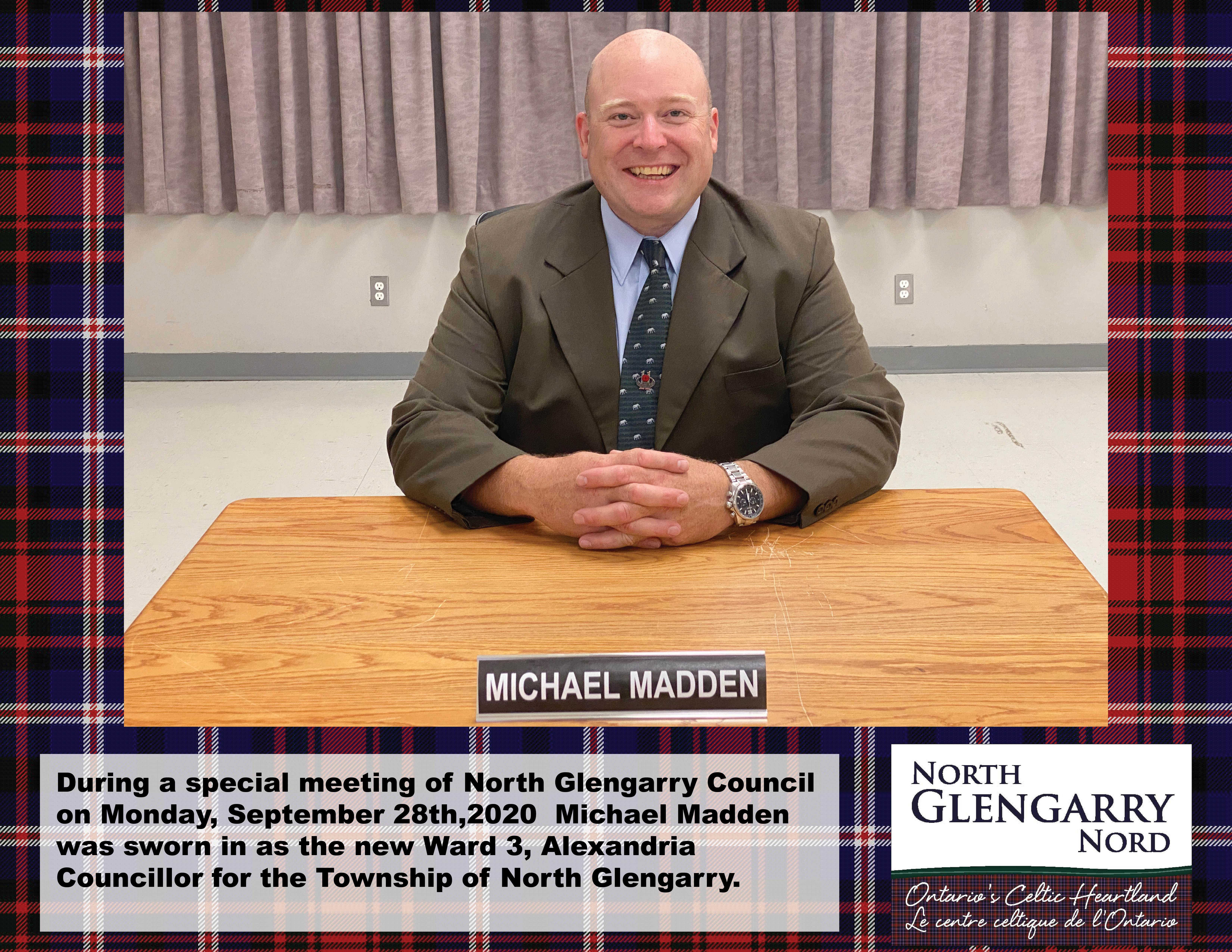 Michael Madden sworn in as Ward 3 Councillor for the Township of North Glengarry