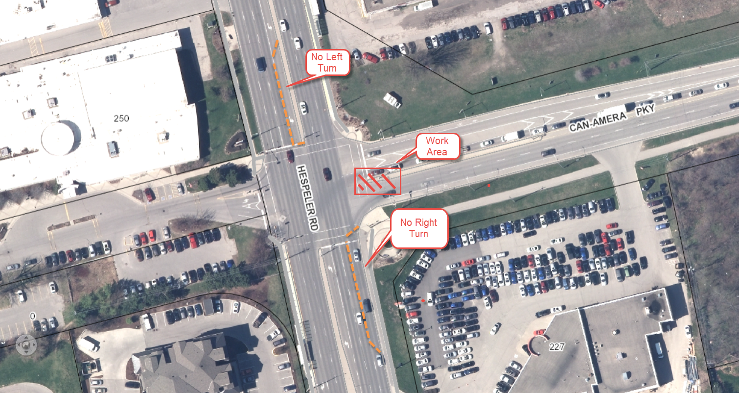 No access to Can-Amera Pkwy from Hespeler Rd