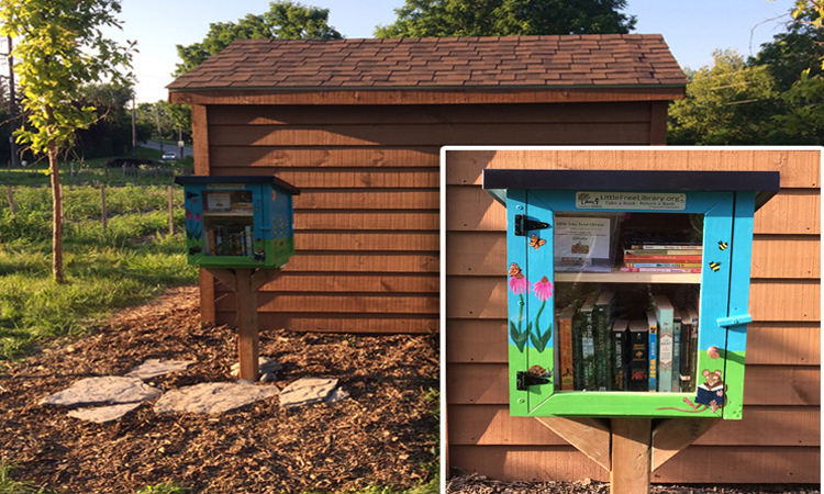 Little Free Library at the London Road and Main Street community garden