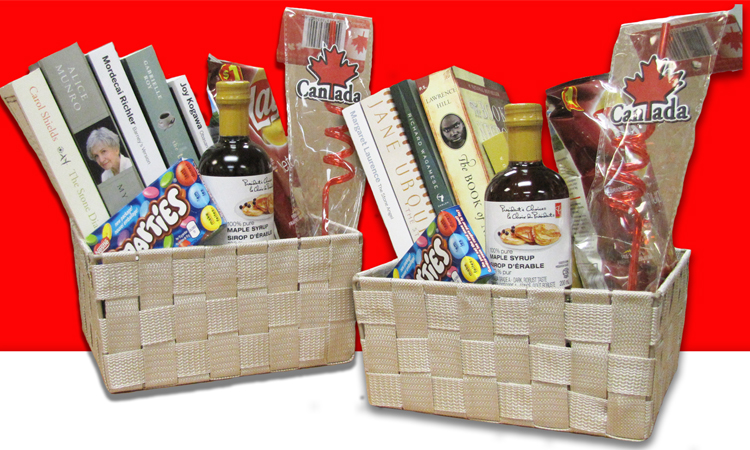 Two Canadian novels gift baskets fillled with books and treats