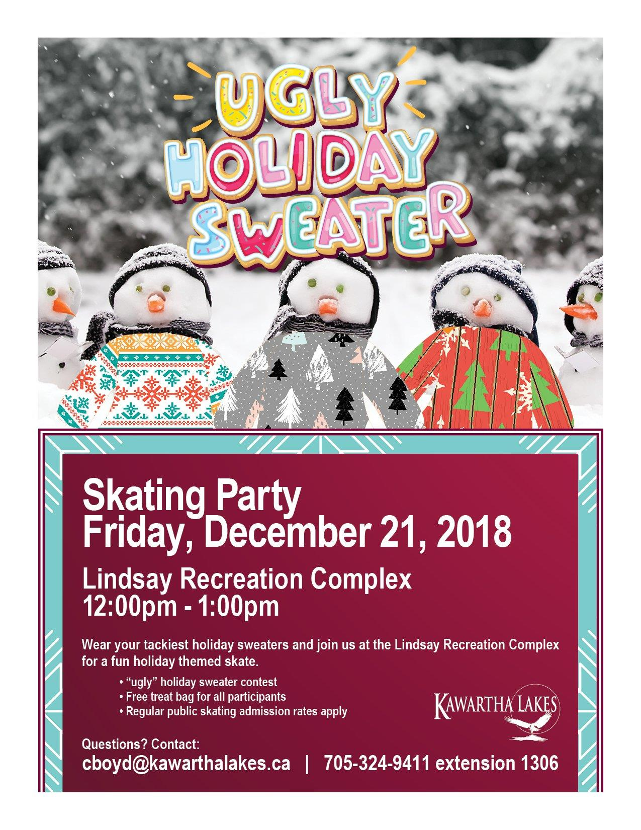 Ugly Holiday Sweater Skating Party Poster