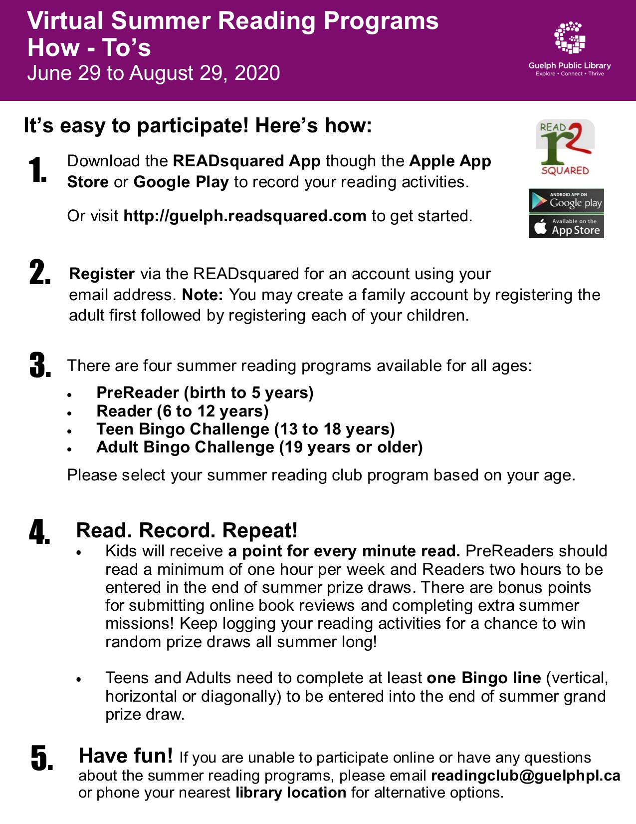 Virtual Summer Reading Program How-To's