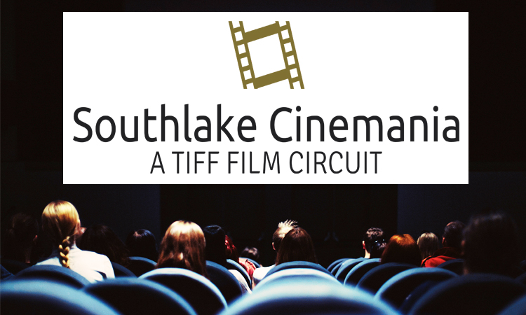 Peple in movie theatre looking at screen with Southlake Cinemania logo on it