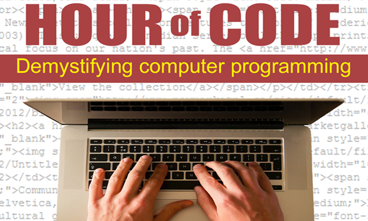 photo fo hands on a computer keyboard with code in the background