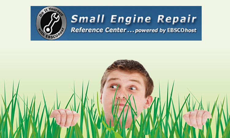Man neck deep in long grass with the Small Engine Repair Reference Centre logo above his head