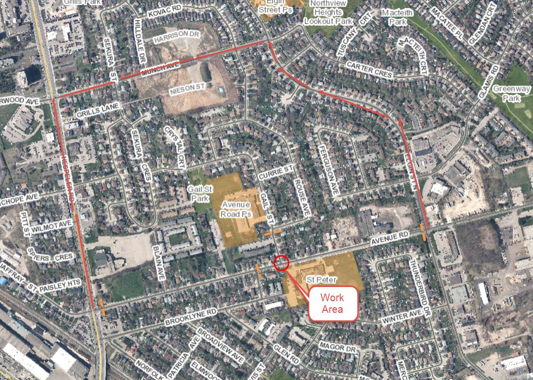Avenue Road Sewer Work Detour - May 31