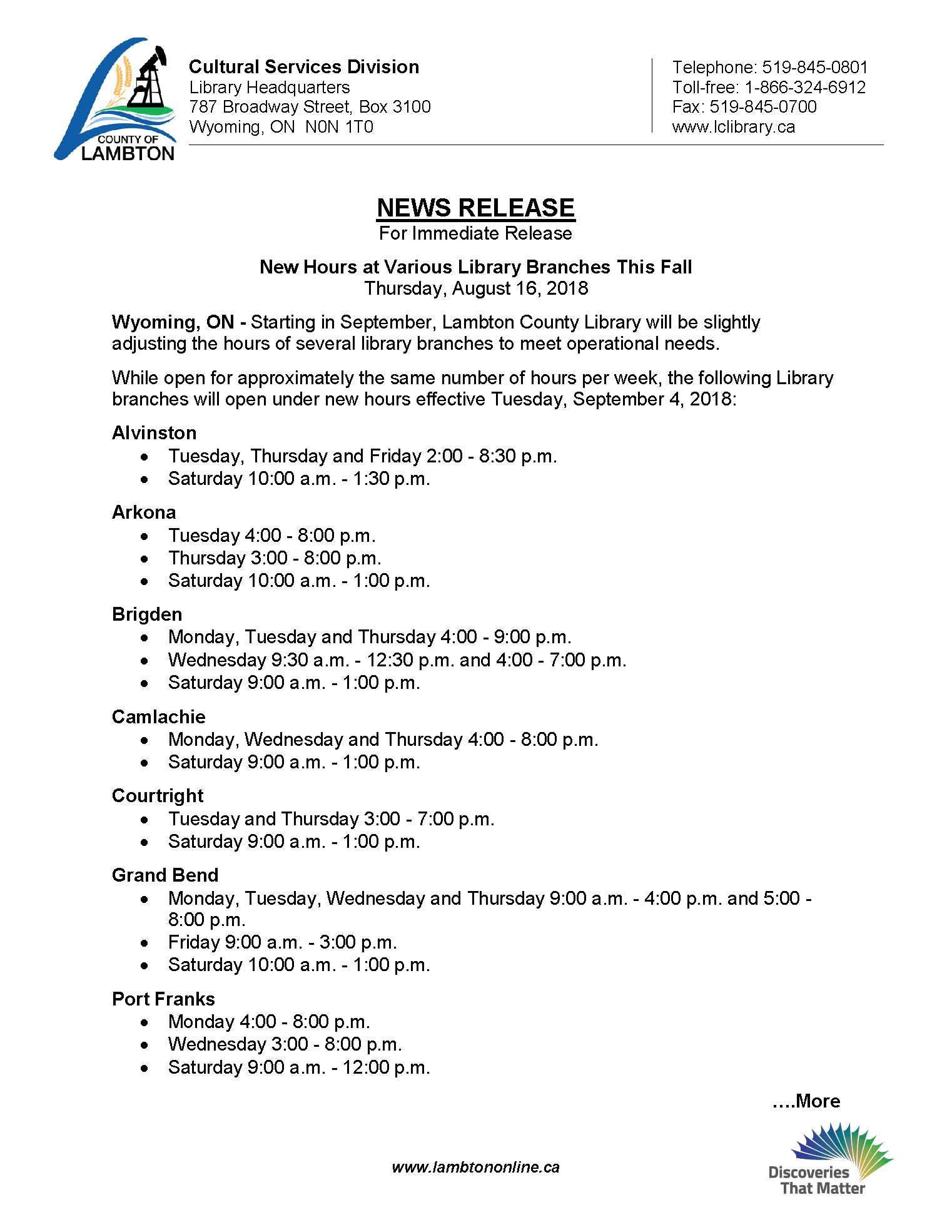 New Hours at Various Library Branches This Fall