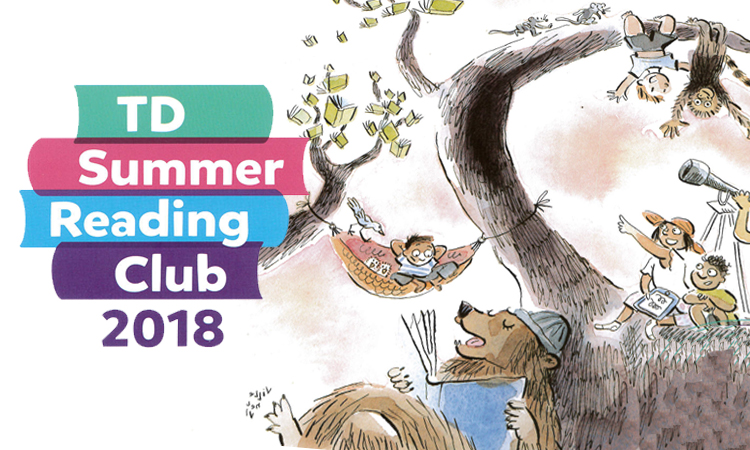 TD summer reading club 2018 artwok of children and animals reading