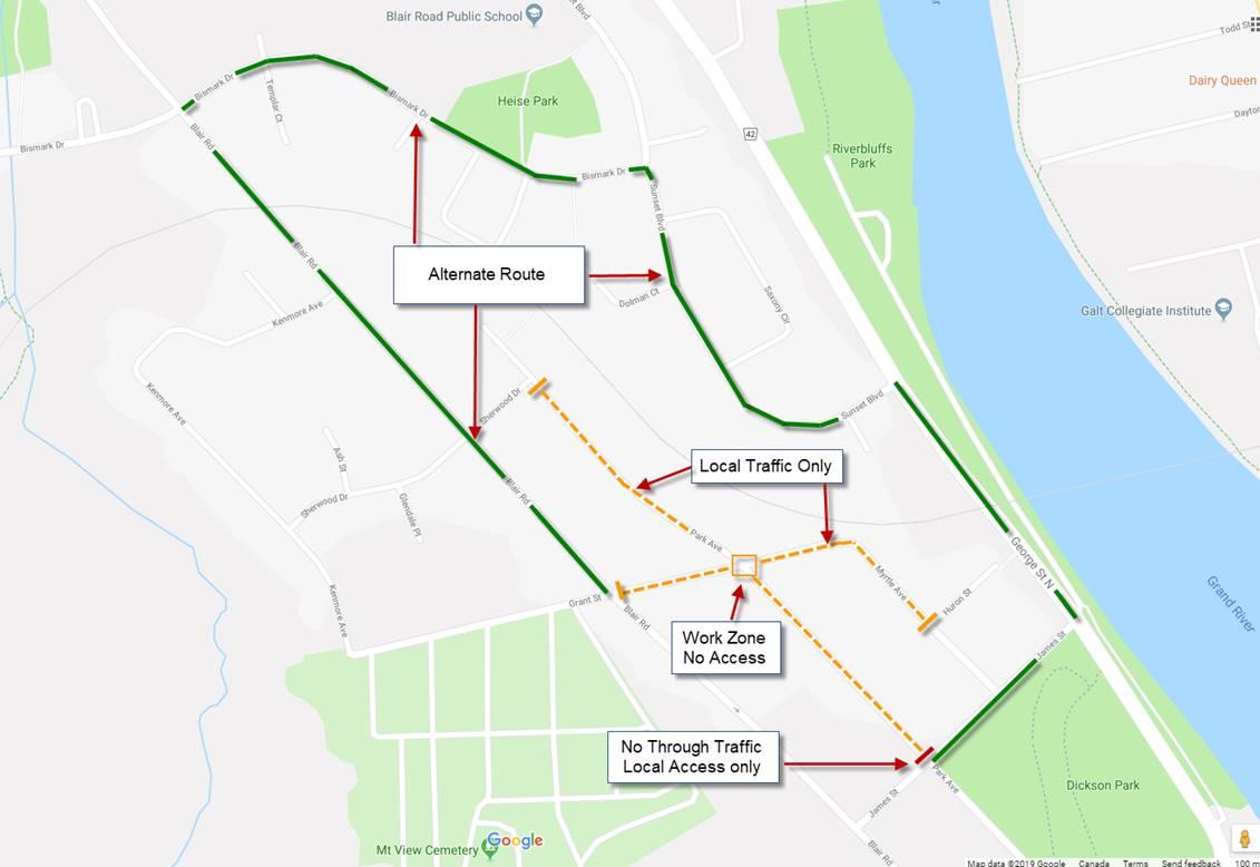 Park Ave/Grant St detour route