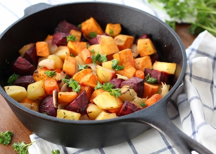 Root vegetables frying pan