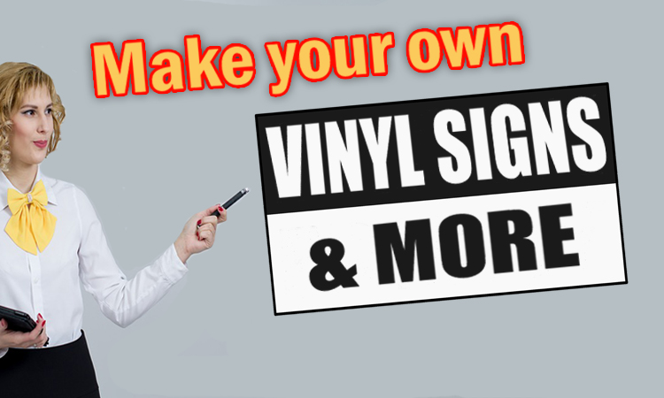 woman poining to vinyl signs