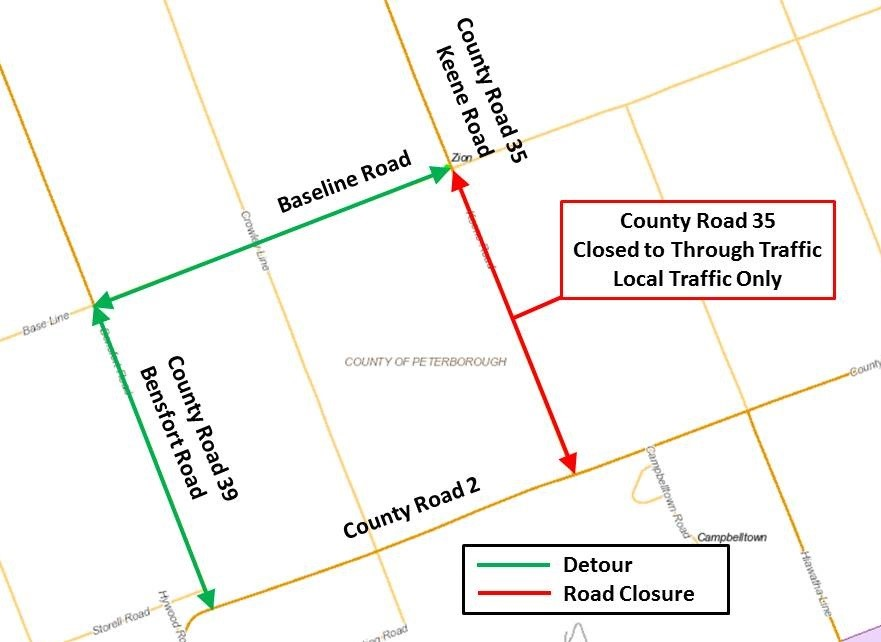 CR35 Closure and Detour Map