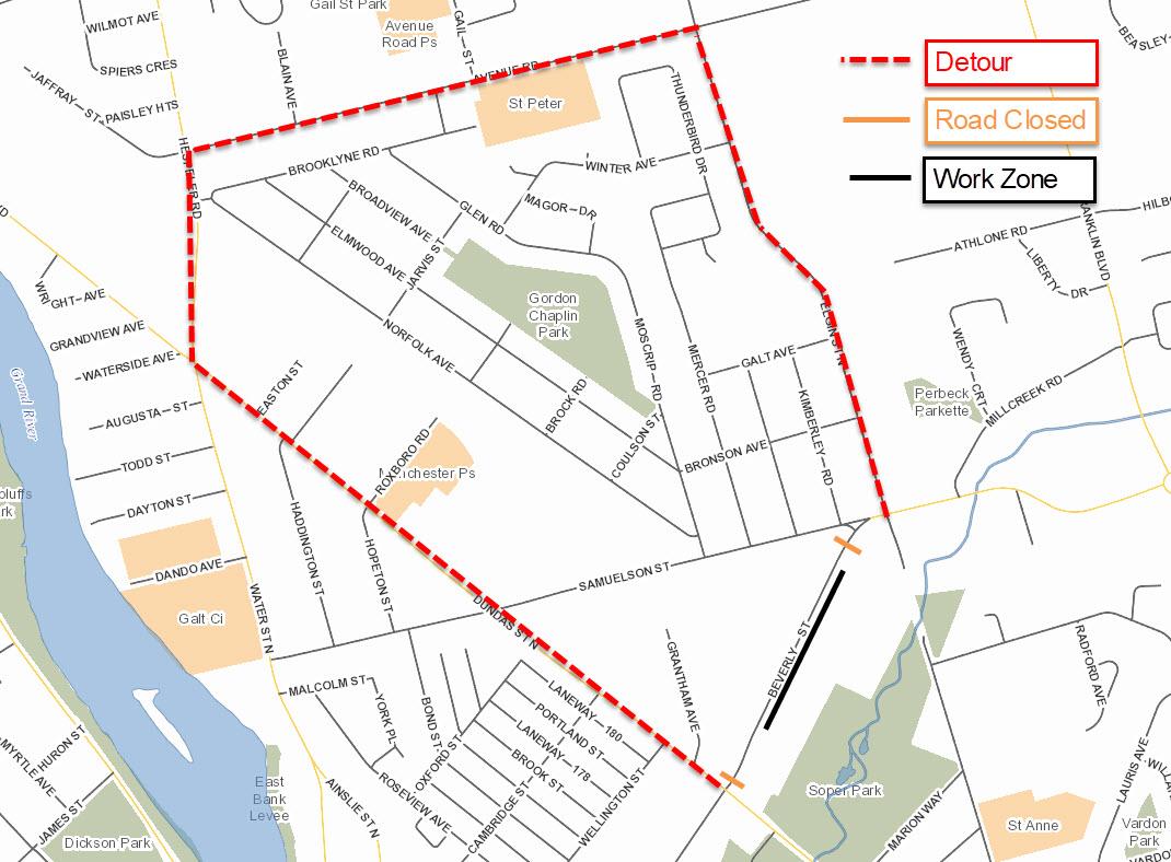 Beverly Street Detour Map