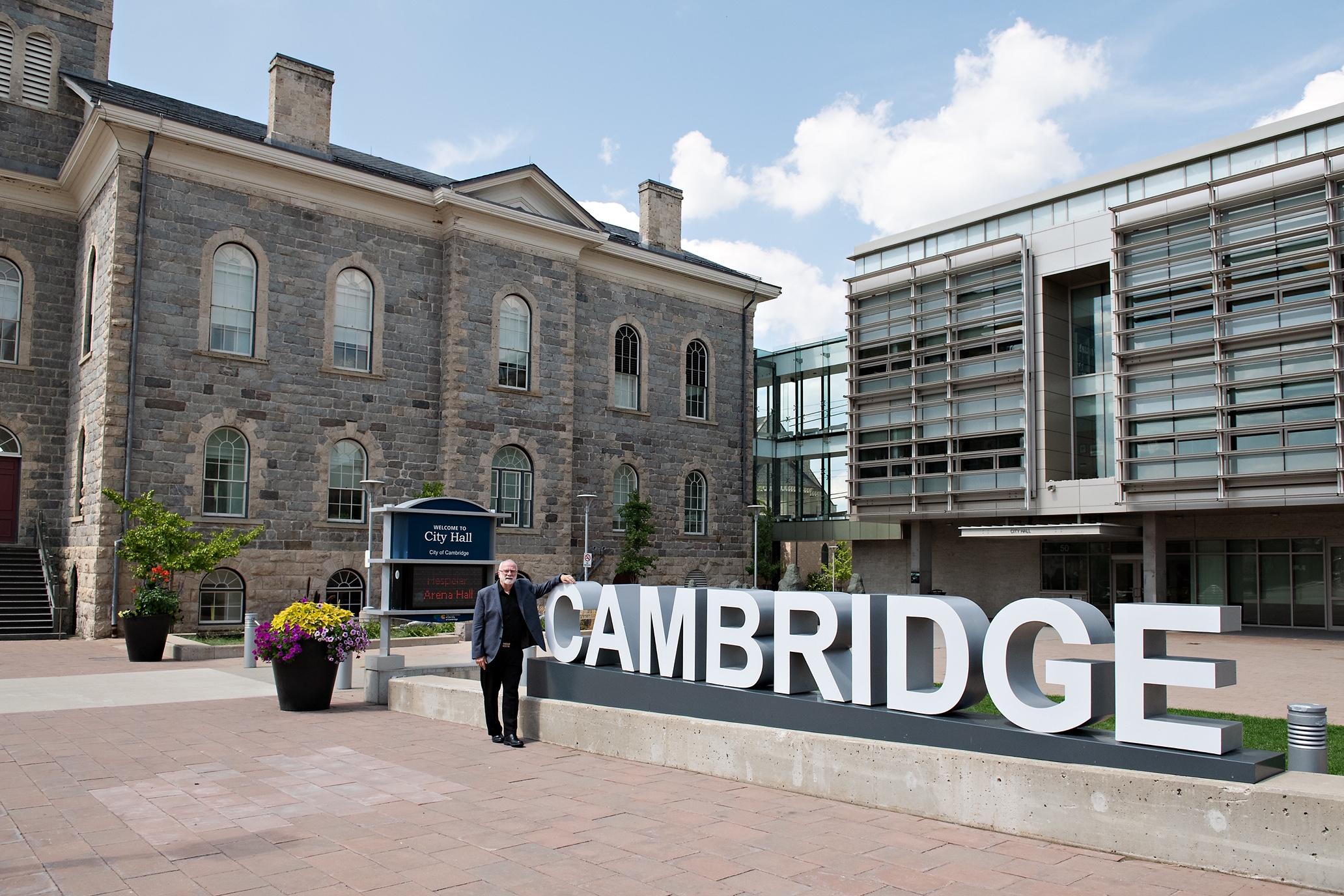 Mayor Doug Craig with Cambridge sign