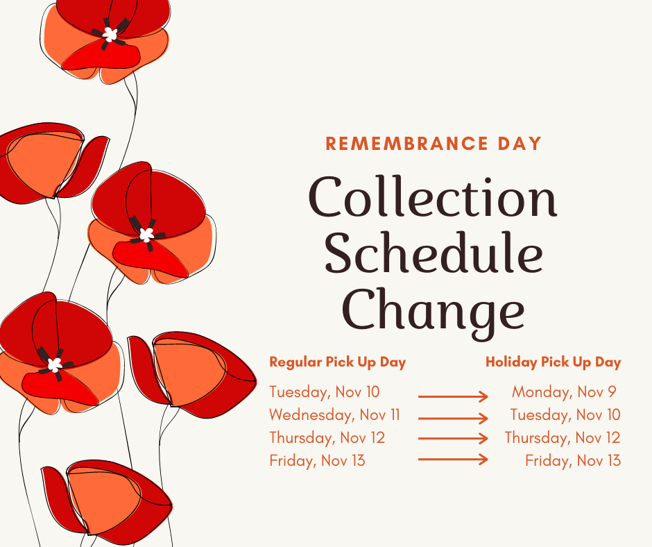 Remembrance Day Collection Schedule Change