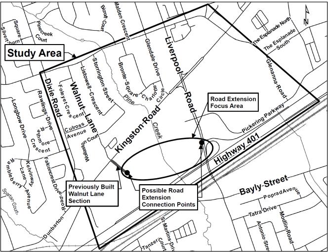 Study Area Map - Walnut Lane Extension